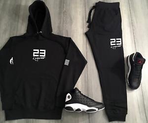 Black 23 Hoodie Joggers To Match Jordan 13 Reverse He Got Game Jordan Track Suit