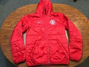 MENS USED NIKE MANCHESTER UNITED REVERSBILE SOCCER HOODED JACKET SIZE SMALL