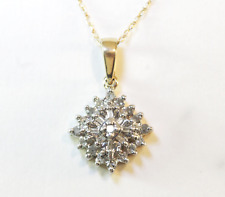 "DIAMOND ROUND & BAGUETTE PENDANT 10K YELLOW GOLD 18"" CHAIN 2.2 GRAMS"