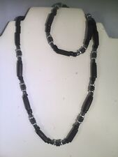 Mens Hematite & Black Bead Necklace & Bracelet Set -Healing - Protection Focus