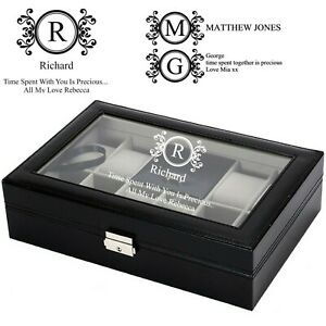 Personalised engraved watch box watch display case locking cuff links watches