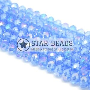 FACETED RONDELLE CRYSTAL GLASS BEADS 4MM,6MM,8MM,10MM - PICK AB COLOUR
