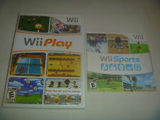 Wii Sports (2006) & Play (2007) Nintendo Wii With Cases 2 Game Set Lot