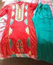 Ladies red kameez with ferozi trouser and dupatta asian dress 3 piece new