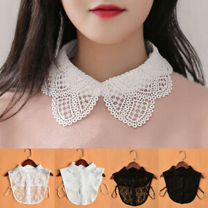 Women Elegant Sweater Decor Fake Collar Lace Half Shirt Turtleneck Detachable