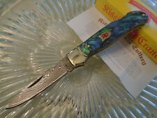 "Kissing Crane Abalone Damascus Lockback Fancy Pocket Knife KC5200 6 1/3"" Open"