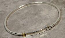 Vintage Cartier Sterling Silver & 18K Yellow Gold Hammered Oval Bangle Bracelet