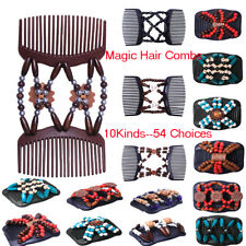 54x Lady Easy Magic Hair Double Combs Wooden Beads Stretchy Clip Hair Accessory