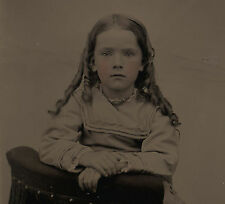 OLD VINTAGE ANTIQUE TINTYPE PHOTO GORGEOUS YOUNG LITTLE GIRL w/ GOLDILOCK HAIR
