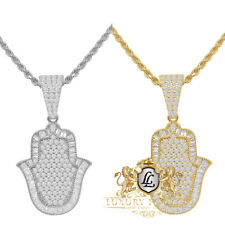 Sterling Silver Simulated Diamond Hamsa Hand Mini Pendent Charm Chain Set Unisex