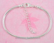 10pcs Silver /P Lobster Clasp Snake Chain Charm Bracelets Fit European Beads P02