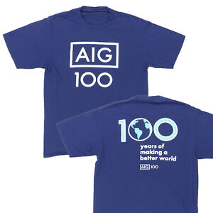 "AIG Adult Medium 38"" 100 Years T Shirt Blue Cotton American International Group"