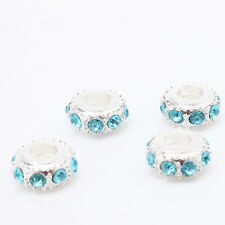10x Hot Alloy Charms Bead Silver Plated Blue Rhinestone Fit European Bracelet L