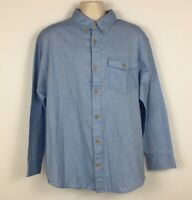 Duluth Trading Co Mens Long Sleeve Button Down Shirt Blue Chambray Pocket Size L