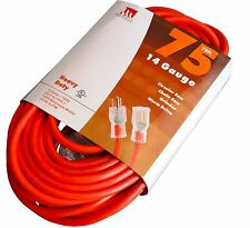75' Extension Cord 14 Gauge Contractor Grade UL Grounded Lit End