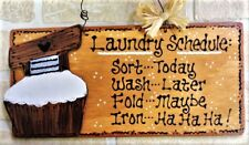 LAUNDRY ROOM SCHEDULE SIGN Scrub Tub Country Decor Wall Hanger Home Plaque