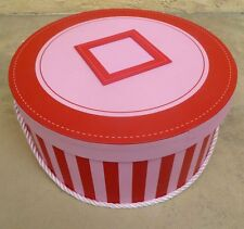WOMENS PINK AND RED HATBOX  CARDBOARD  WITH ALPHABET AND CORD HEARTS