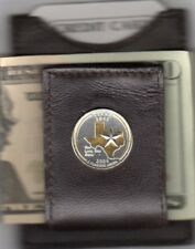 Texas State Quarter Gold on Silver Leather Folding Money Clip Free Gift Box US