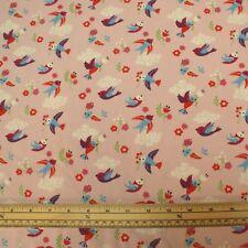 Stretch Jersey Knit Fabric - Pink Birds - 95% Organic Cotton 5% Elastane - HalfM
