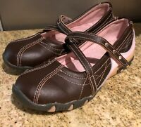 Little Kid Pink & Brown Mary Jane Leather Upper Shoes - size 12