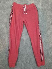 NEXT Boys Jogging Bottoms Age 9 Red Stripe Fleece Lined Tracksuit Trousers