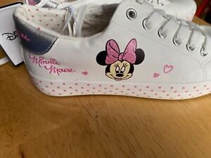 Disney Minnie Mouse Pink & White  Trainers Shoes Sizes 3-8