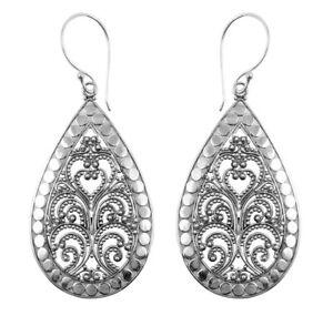 VINTAGE Drop Dangle Earrings Tribal Jewellery in 925 Sterling Silver