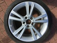 "BMW 1 SERIES F20 F21 18"" REAR ALLOY WHEEL & TYRE STYLE 385M 6796213 8Jx18 OEM"