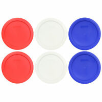 Pyrex 7201-PC 4 Cup (2) Red, (2) White, (2) Cobalt Blue Round Lid Covers 6PK