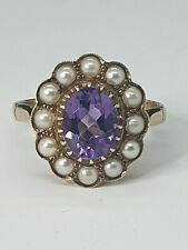 EDWARDIAN AMETHYST & PEARL 9CT CLUSTER RING MINT CONDITION SIZE O   US SIZE 7