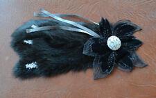 High End Black Fox Fur Velvet Flower Applique Embellishment for coat jacket