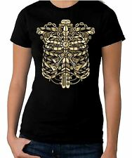 Steampunk Ribcage Women's V Neck T-Shirt - Steam Punk Skeleton Clothing