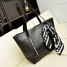 Womens Fashion Black Skull Head PU Bag Shoulder Bags Handbag Satchel with Scarf