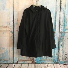 Women's AEROS By Kristen Blake Black Rain Coat W/ Hood Thigh Length Lined Size M