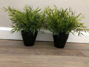 IKEA FEKJA Artificial BAMBOO Plants - SET OF TWO - New w/tags - Black Pot