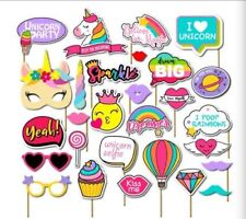 Cute Rainbow Unicorn Photo Booth Props Kit Girl Birthday Party Supplies- 28count