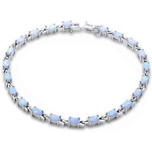 "Oval White Opal .925 Sterling Silver Bracelet 7.5"""