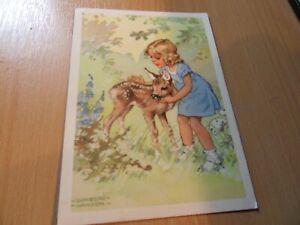 Künstlerkarte - Lungershausen -  Kind mit Reh