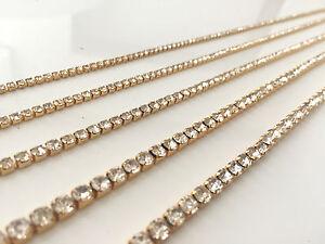 1 Metre Diamante/Rhinestone Crystal & AB Chain GOLD A++ Quality Cake Wedding