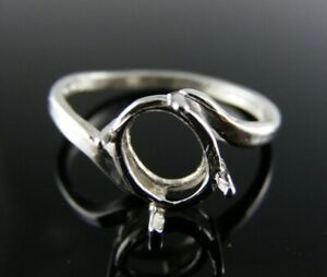 5681 STERLING SILVER RING SETTING, 8X6 MM OVAL FACETED GEMSTONE, SIZE 6.75