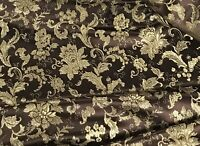 """Brown Gold Floral Metallic Brocade Fabric 45"""" Width Sold By The Yard"""