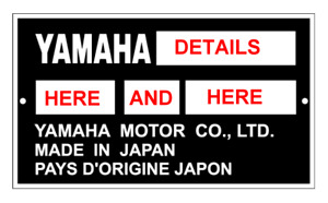 STAMPED 4 YOU YAMAHA DATA ID OUTBOARD MOTOR ID TAG ALL-BLANK-VIN-CHASSIS-PLATES
