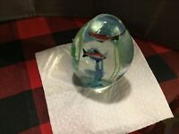 egg shaped glass paperweight Look Like Mirano Aquium Style