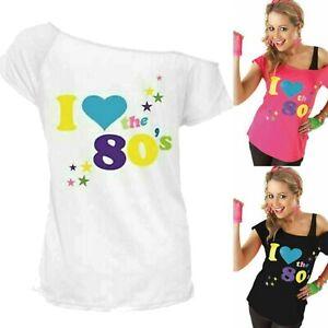 Shebay Women's Ladies I Love the 80s Fancy Dress Hen Party Retro T-Shirt Top