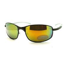 Mens Sunglasses Sporty Oval Metal Wrap Around Frame Gun Metal, Mirror Lens