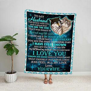 Gift for husband blanket wolf wife to husband I love you family fleece blanket