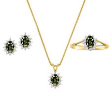 Diamond & Green Sapphire Set - Ring, Earring & Pendant Necklace 14K Yellow or 1