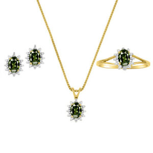 Diamond & Green Sapphire Set - Ring, Earring & Pendant Necklace 14K Yellow or S
