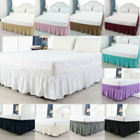 Bed Skirt Polyester Wrap Around Dust Ruffle 15 Inch Drop Elastic Bedding Bed