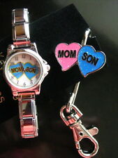 Mom Son Blue Double Hearts Watch + Key Holder  Gift Set of two